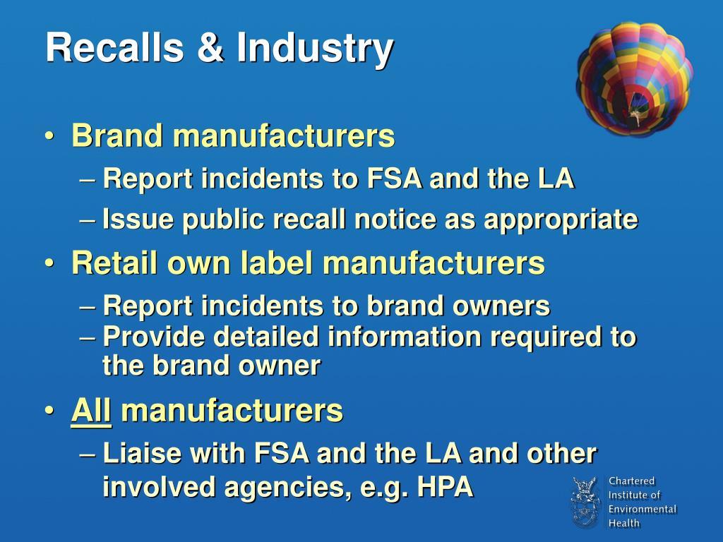 Recalls & Industry