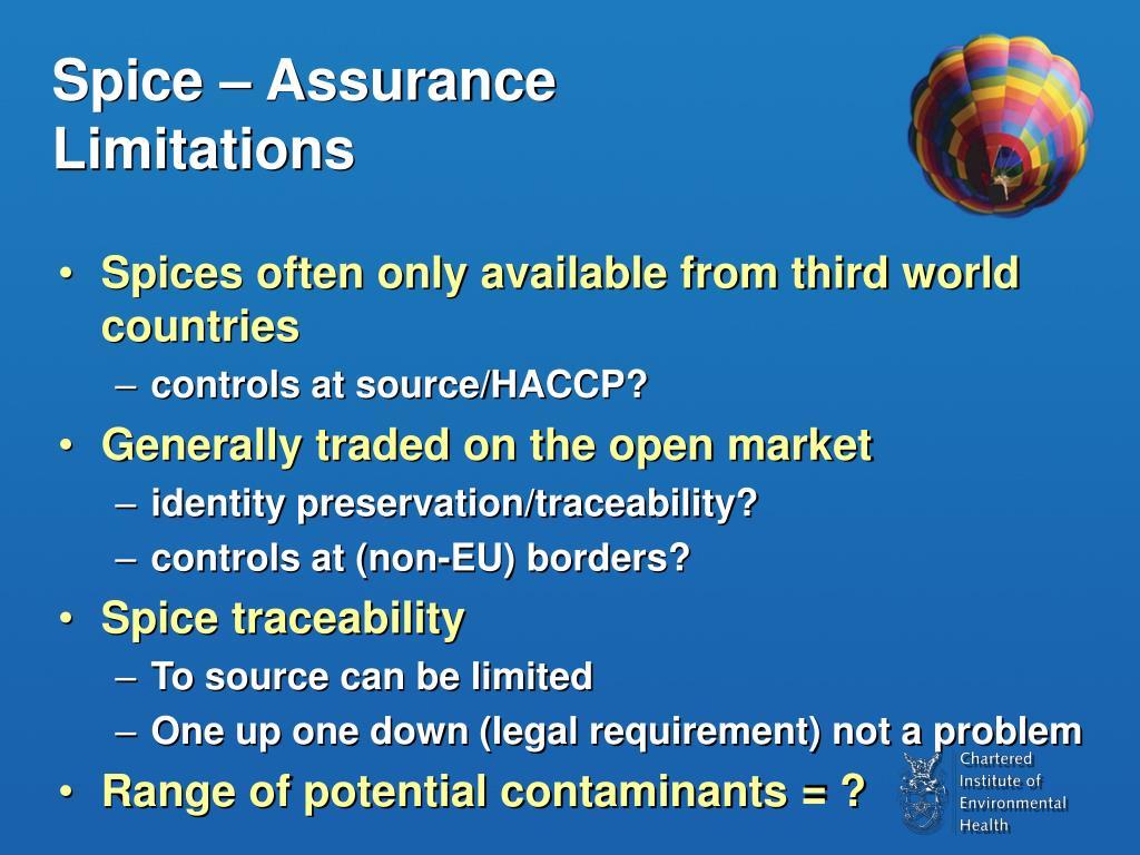Spice – Assurance Limitations