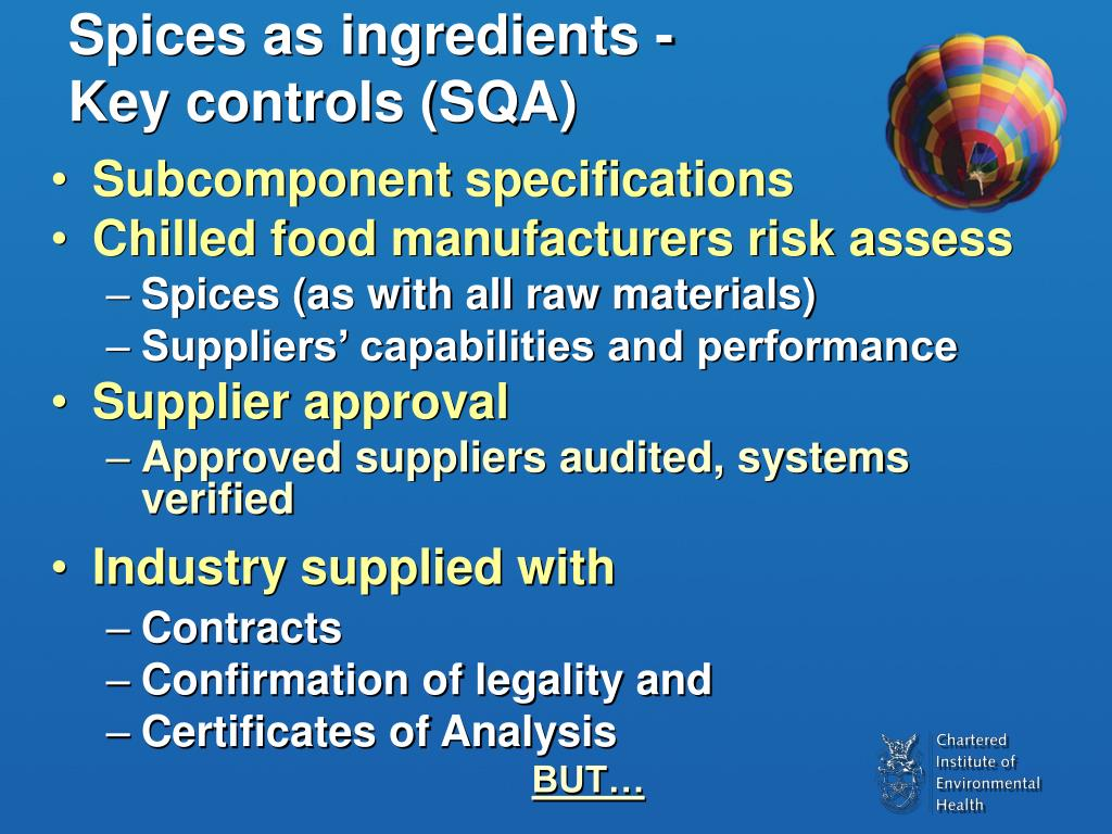 Spices as ingredients -           Key controls (SQA)