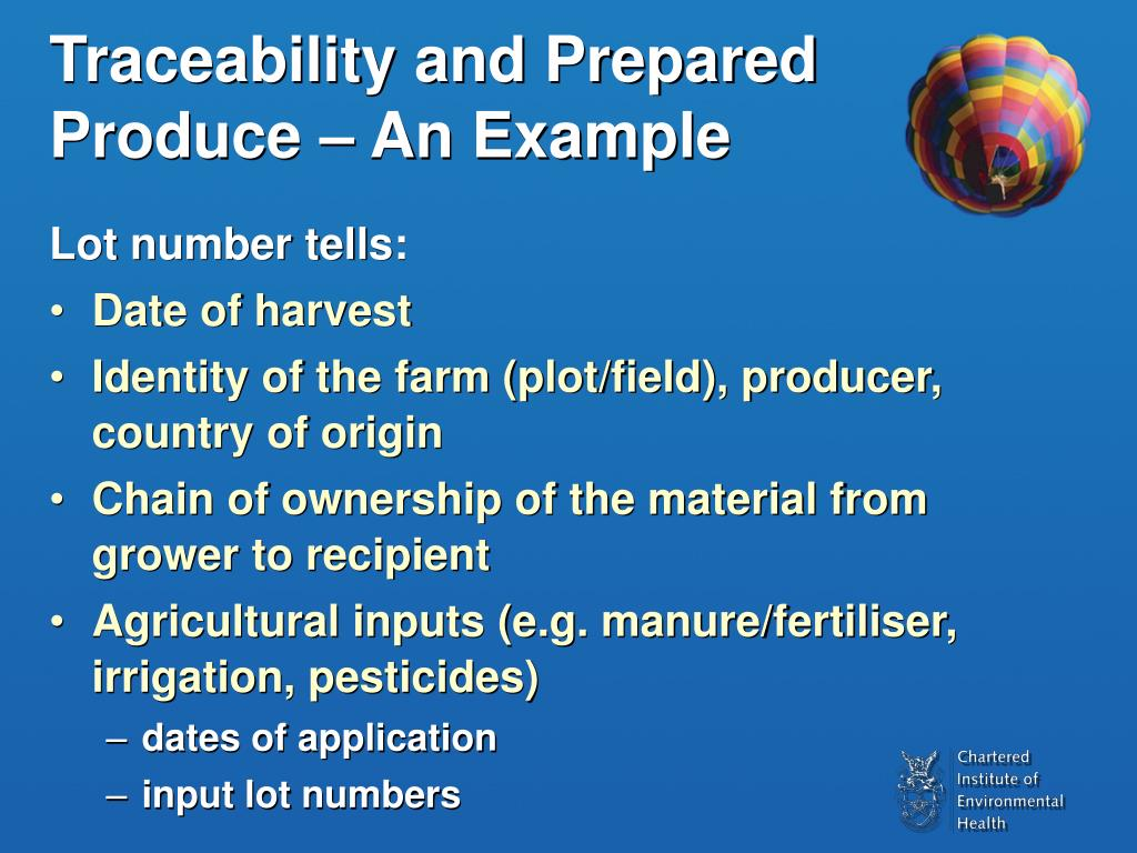 Traceability and Prepared Produce – An Example