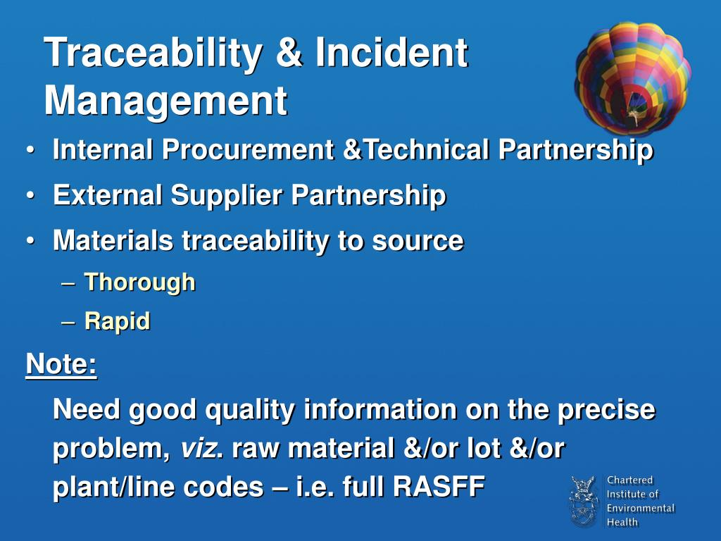 Traceability & Incident Management