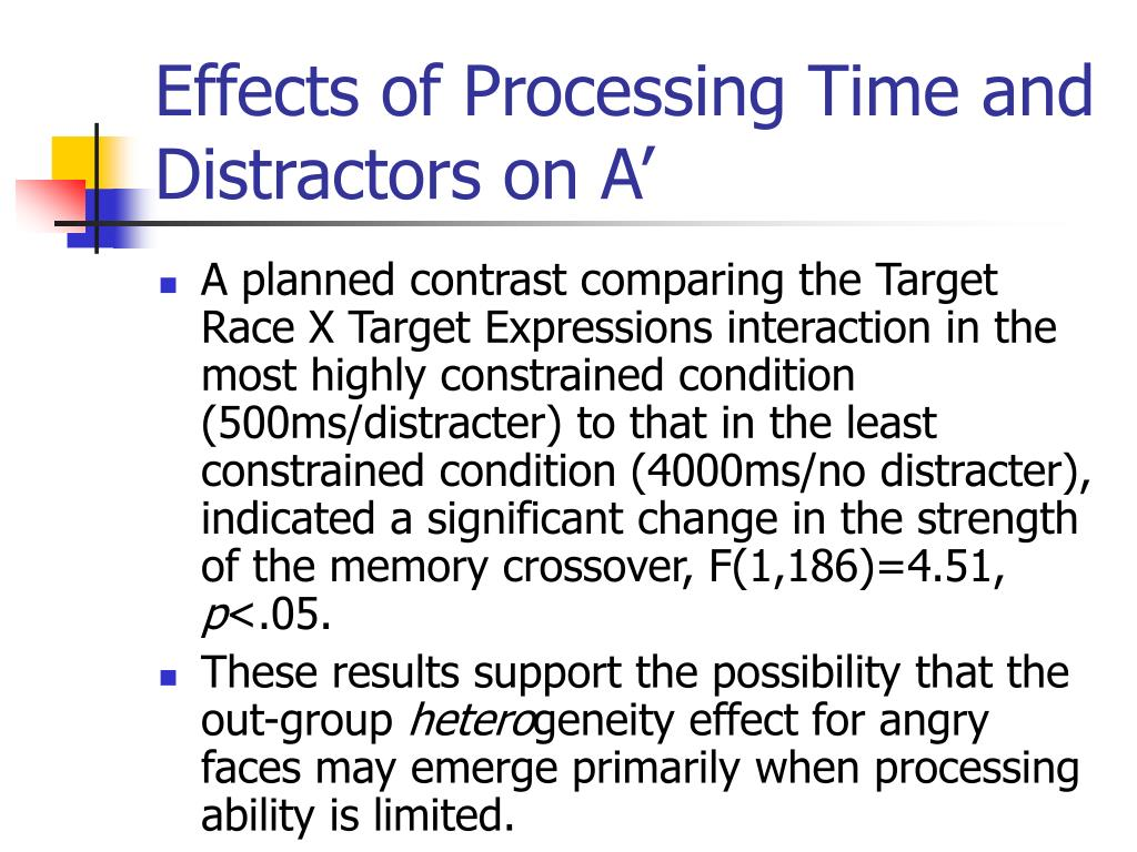 Effects of Processing Time and Distractors on A'
