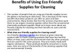 benefits of using eco friendly supplies for cleaning