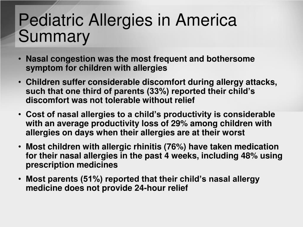 Pediatric Allergies in America Summary