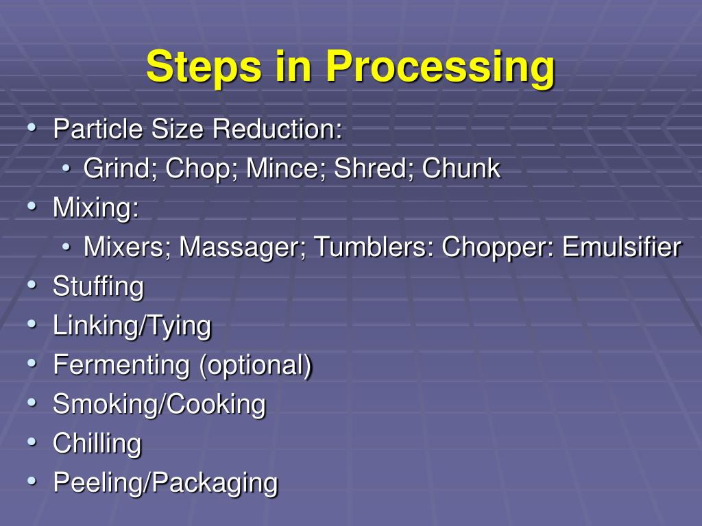 Steps in Processing