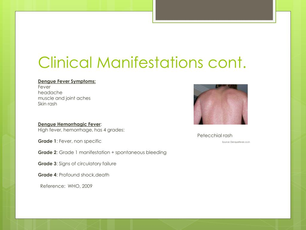 Clinical Manifestations cont.