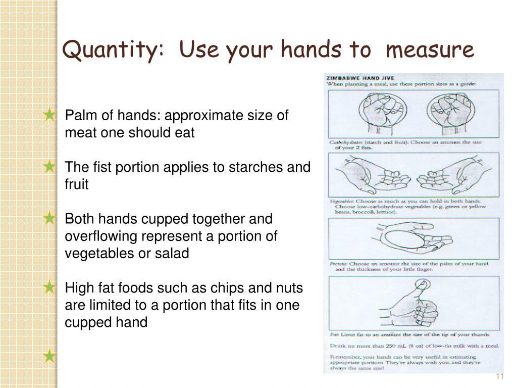 Quantity:  Use your hands to  measure