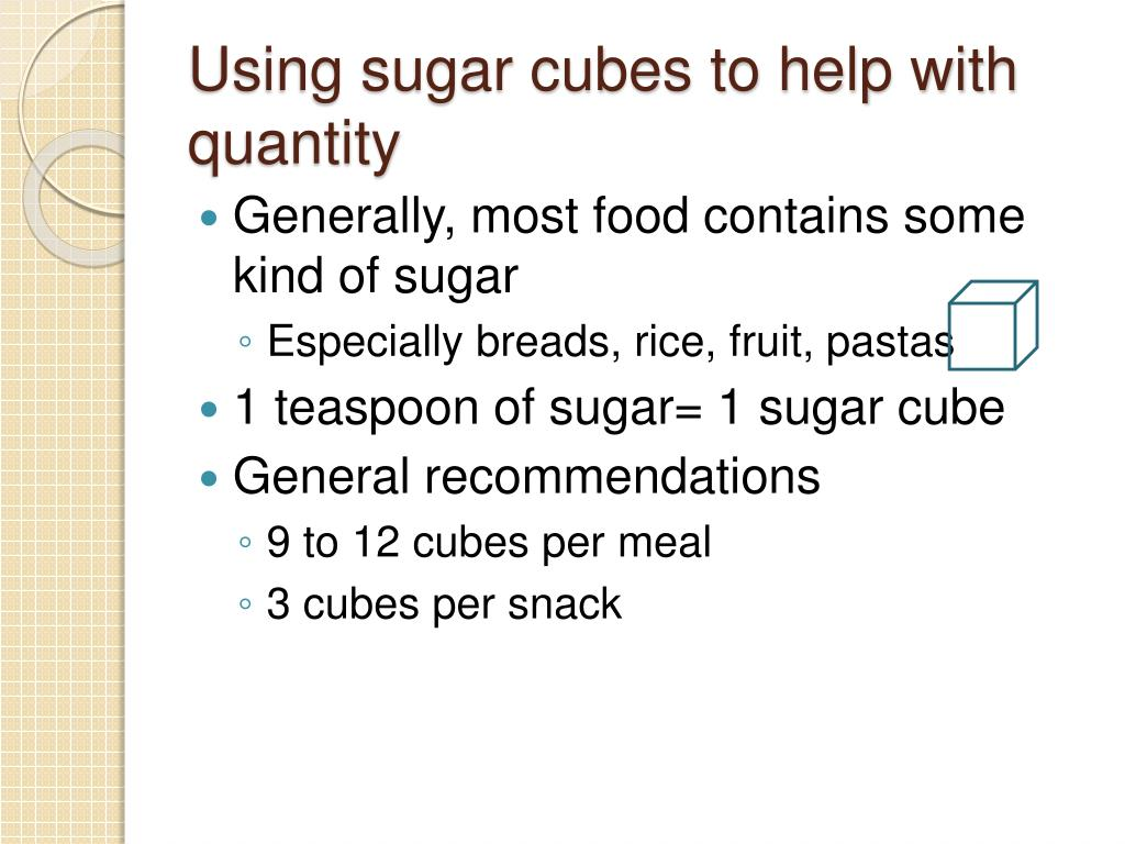 Using sugar cubes to help with quantity