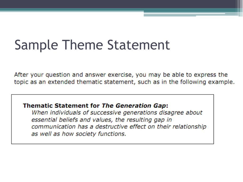 Sample Theme Statement