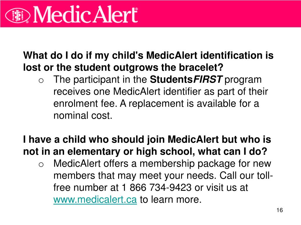 What do I do if my child's MedicAlert identification is lost or the student outgrows the bracelet?