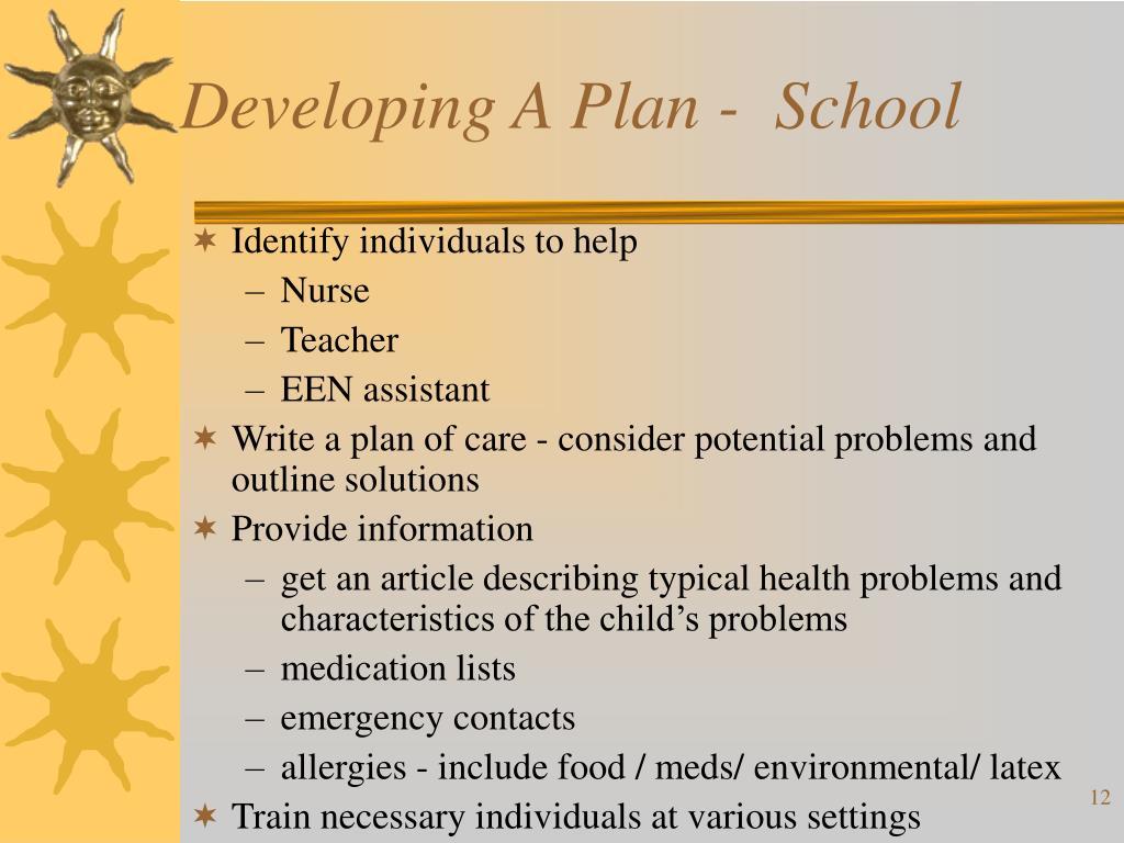 Developing A Plan -  School