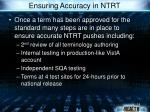 ensuring accuracy in ntrt