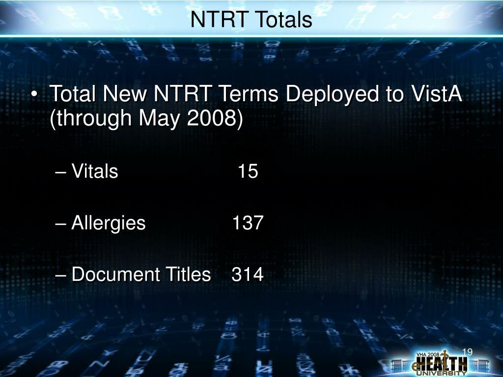 NTRT Totals