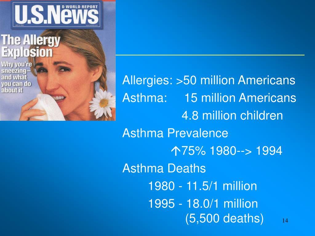 Allergies: >50 million Americans