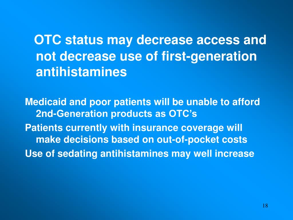 OTC status may decrease access and not decrease use of first-generation antihistamines