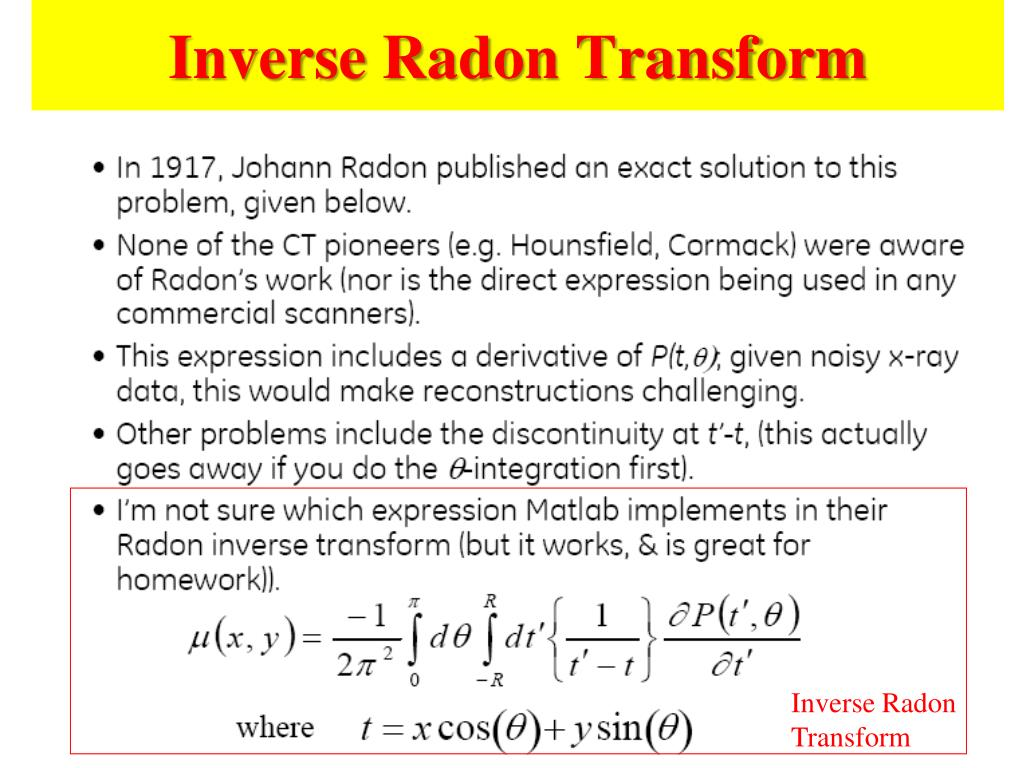 Inverse Radon Transform