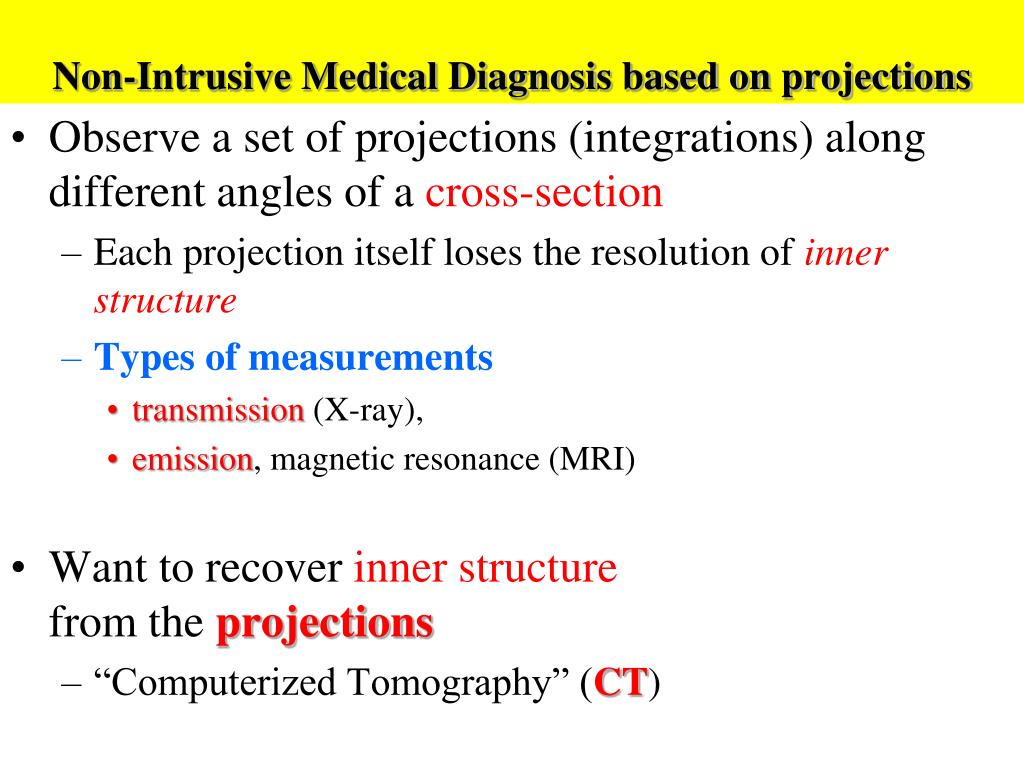 Non-Intrusive Medical Diagnosis based on projections