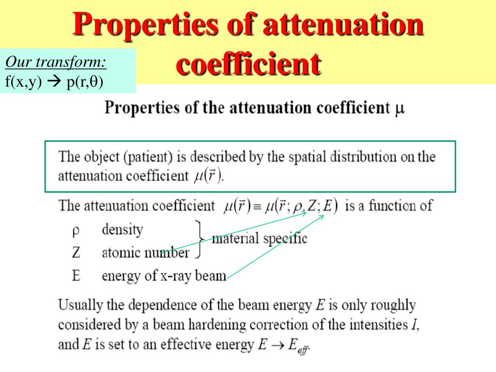 Properties of attenuation coefficient