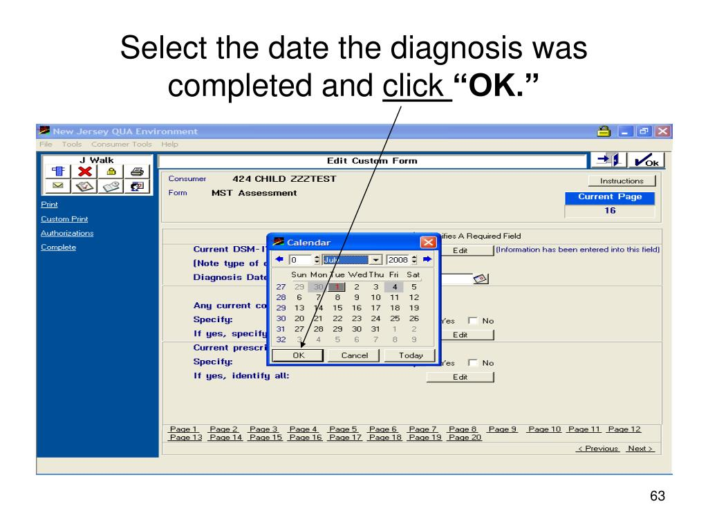 Select the date the diagnosis was