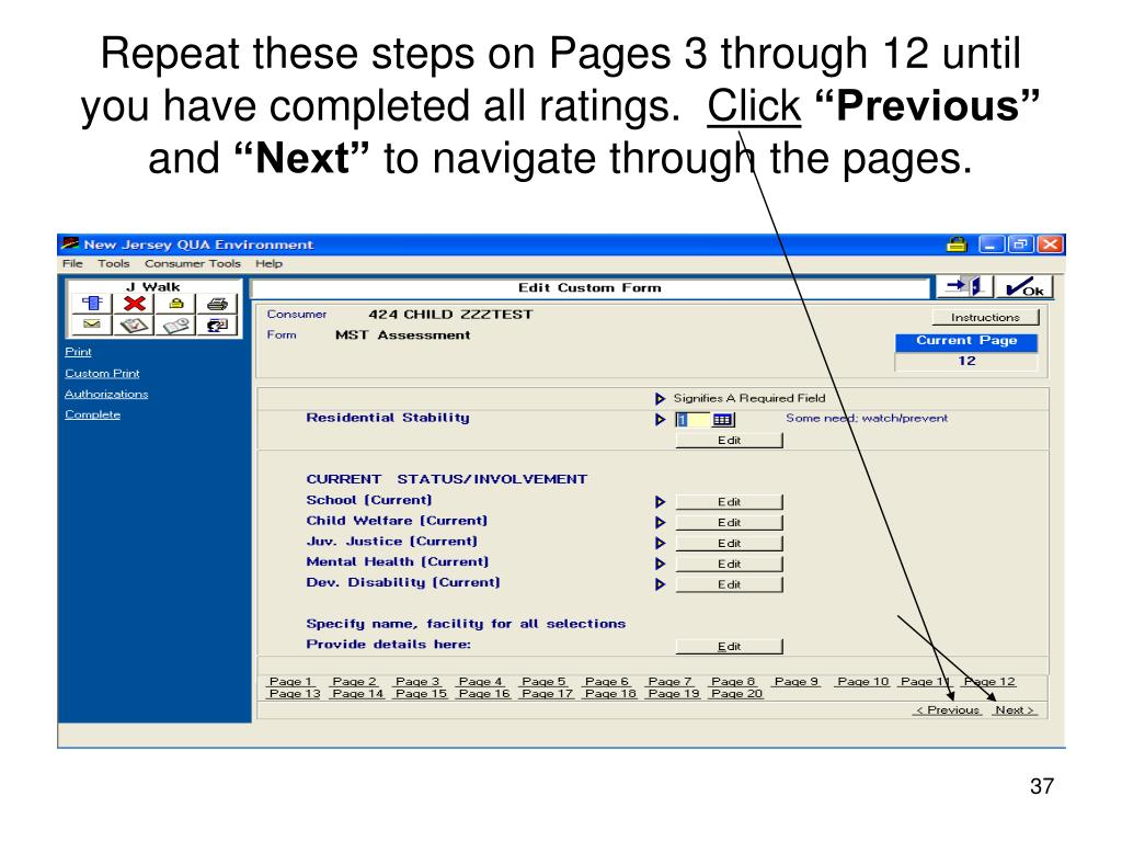 Repeat these steps on Pages 3 through 12 until you have completed all ratings.