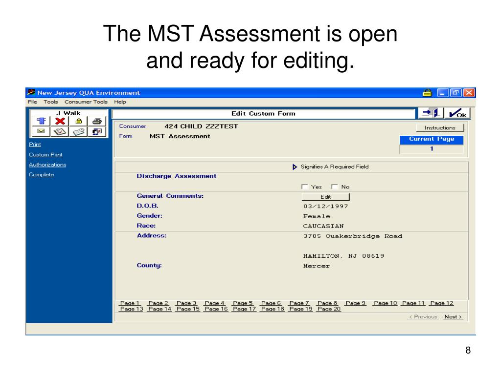The MST Assessment is open