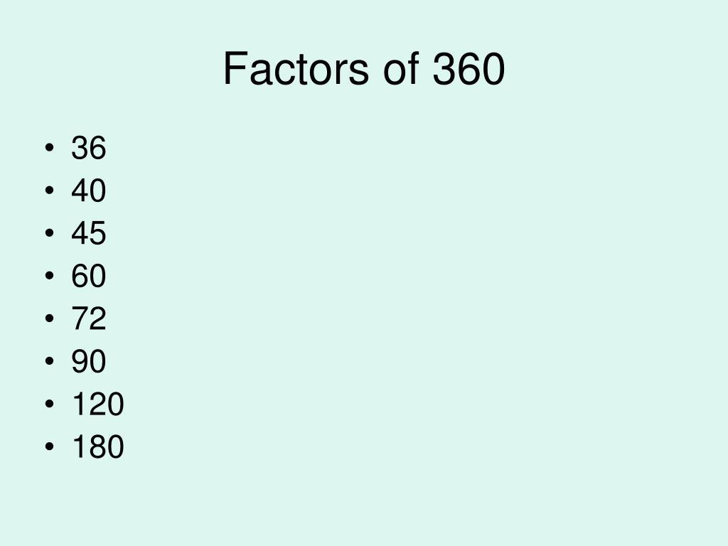 Factors of 360