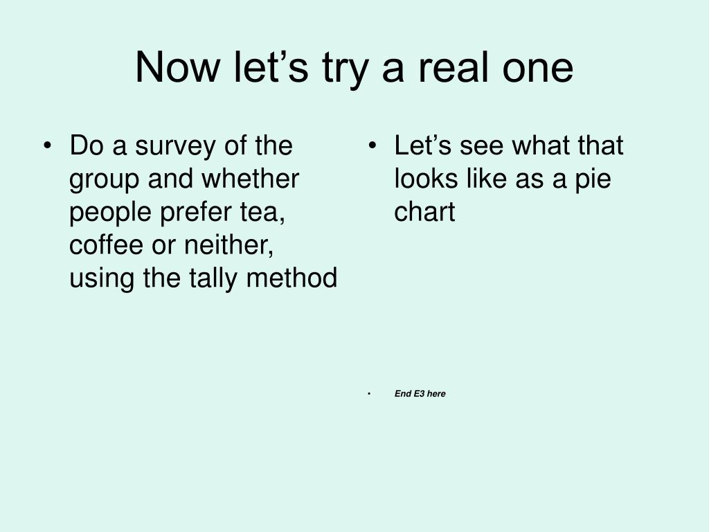 Do a survey of the group and whether people prefer tea, coffee or neither, using the tally method