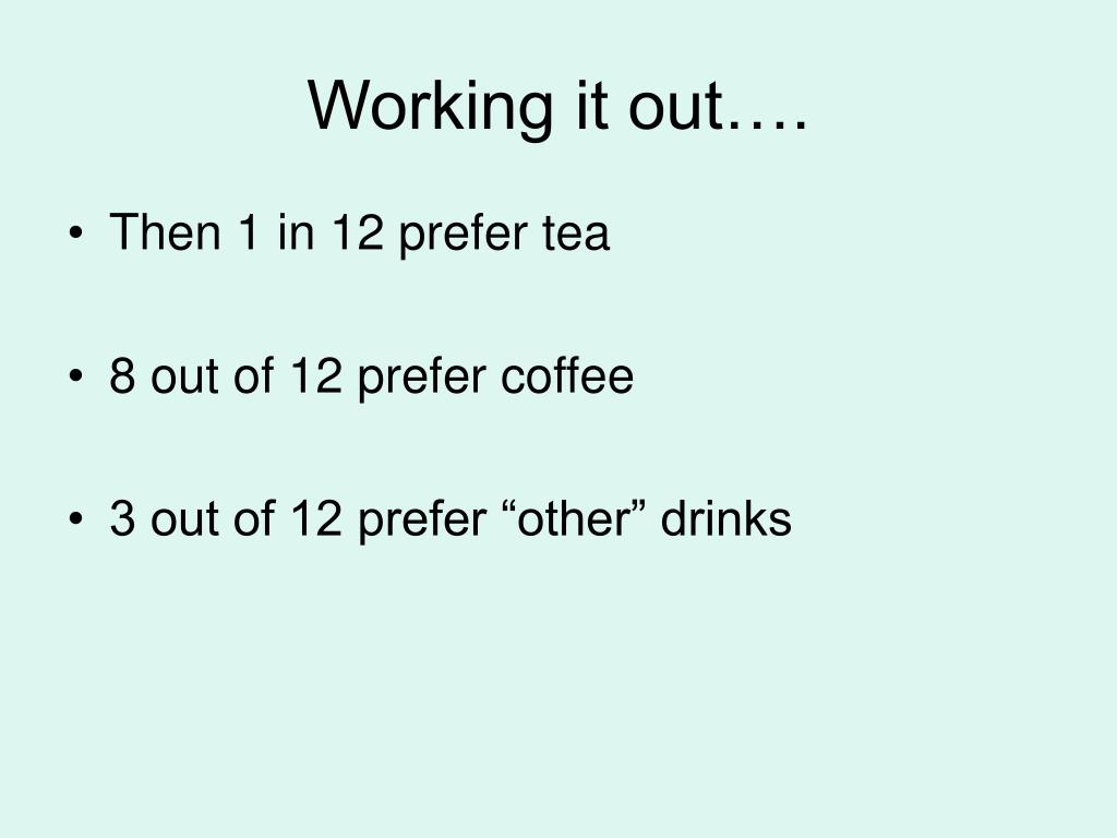 Working it out….