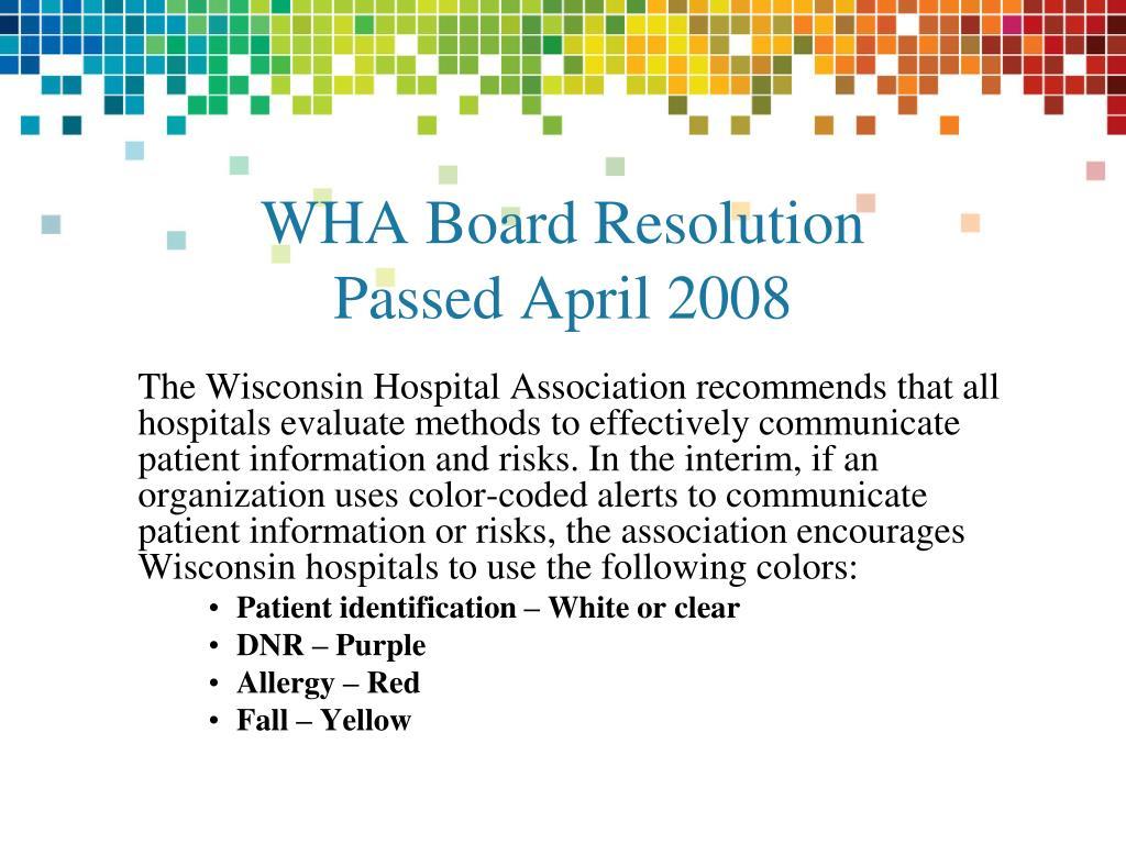WHA Board Resolution
