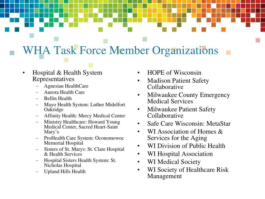 WHA Task Force Member Organizations