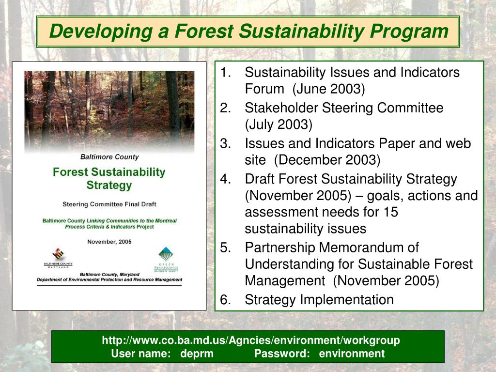 Developing a Forest Sustainability Program