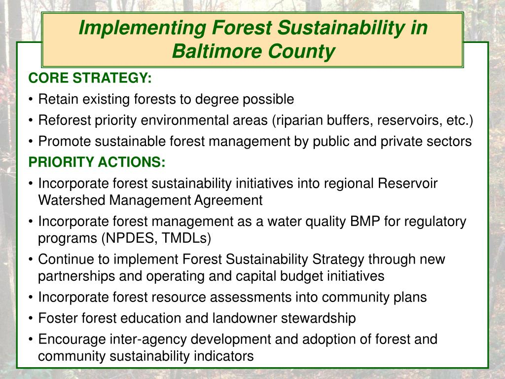 Implementing Forest Sustainability in Baltimore County