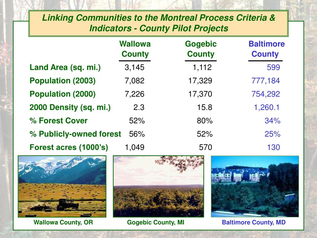 Linking Communities to the Montreal Process Criteria & Indicators - County Pilot Projects
