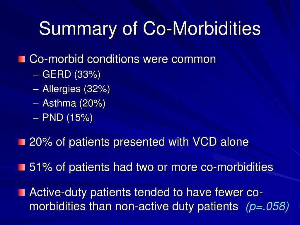 Summary of Co-Morbidities