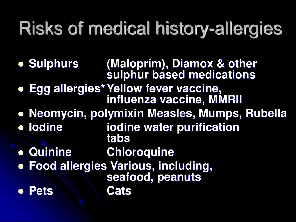 Risks of medical history-allergies