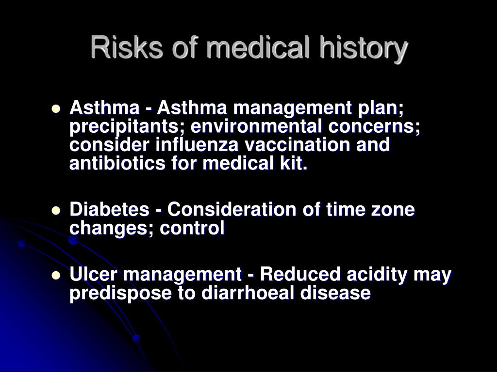 Risks of medical history