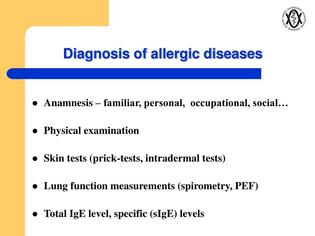 Diagnosis of allergic diseases