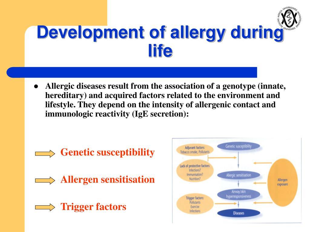 Development of allergy during life