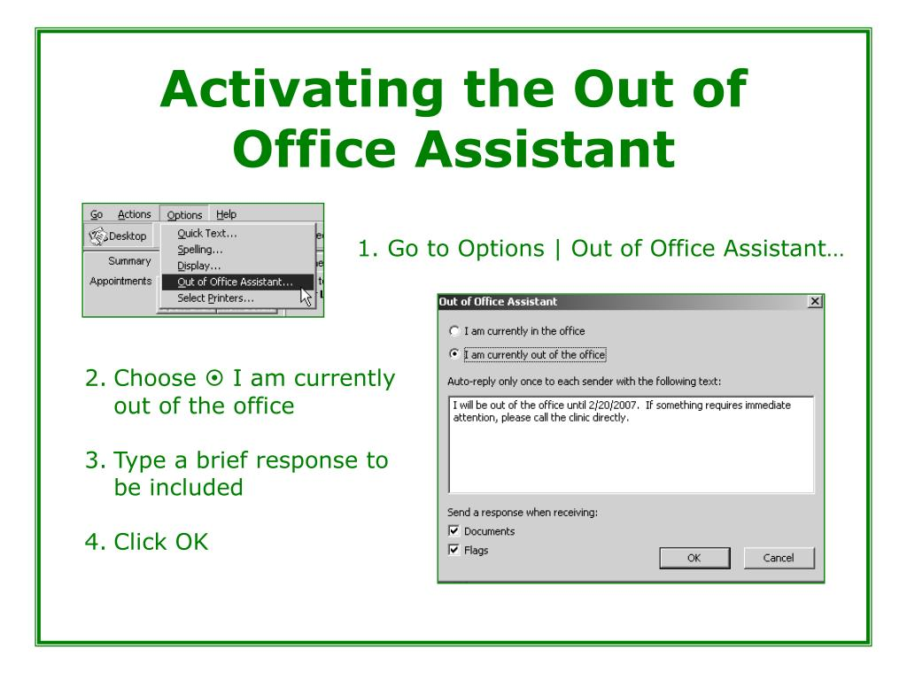 Activating the Out of Office Assistant