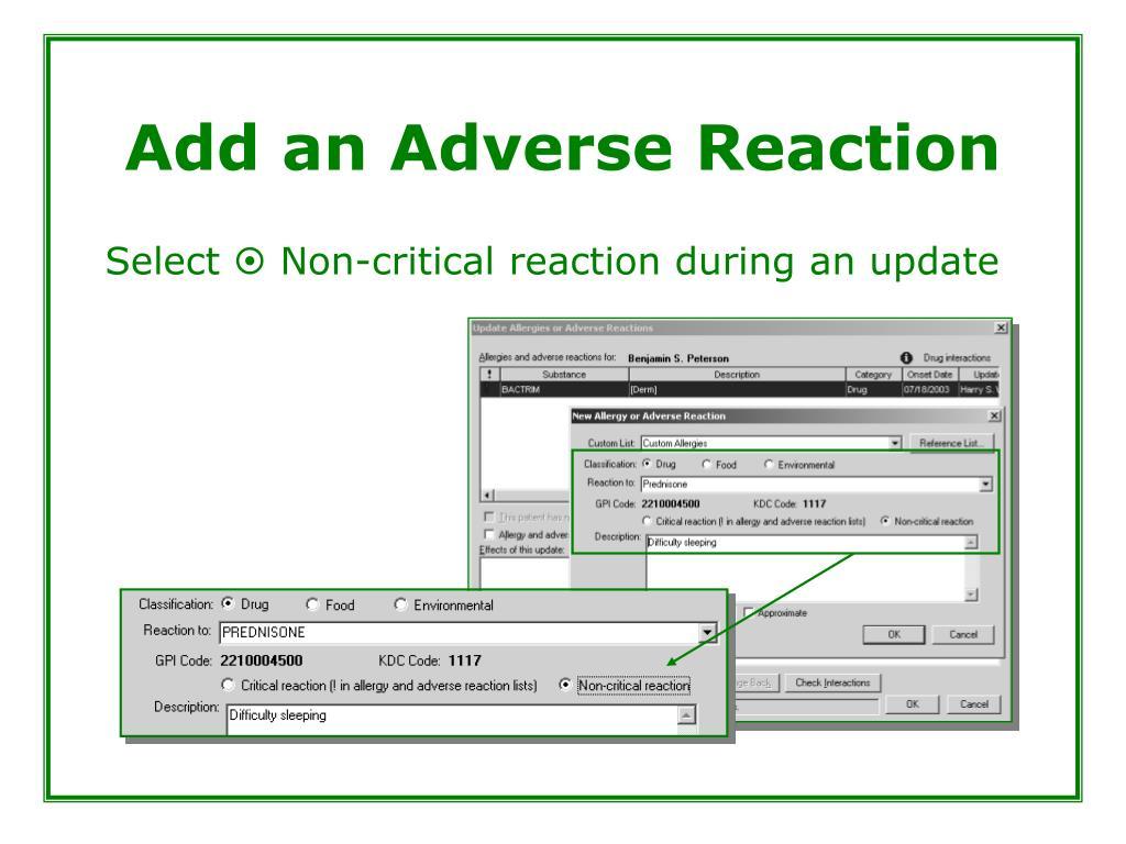 Add an Adverse Reaction