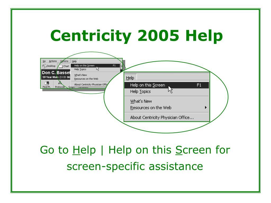 Centricity 2005 Help