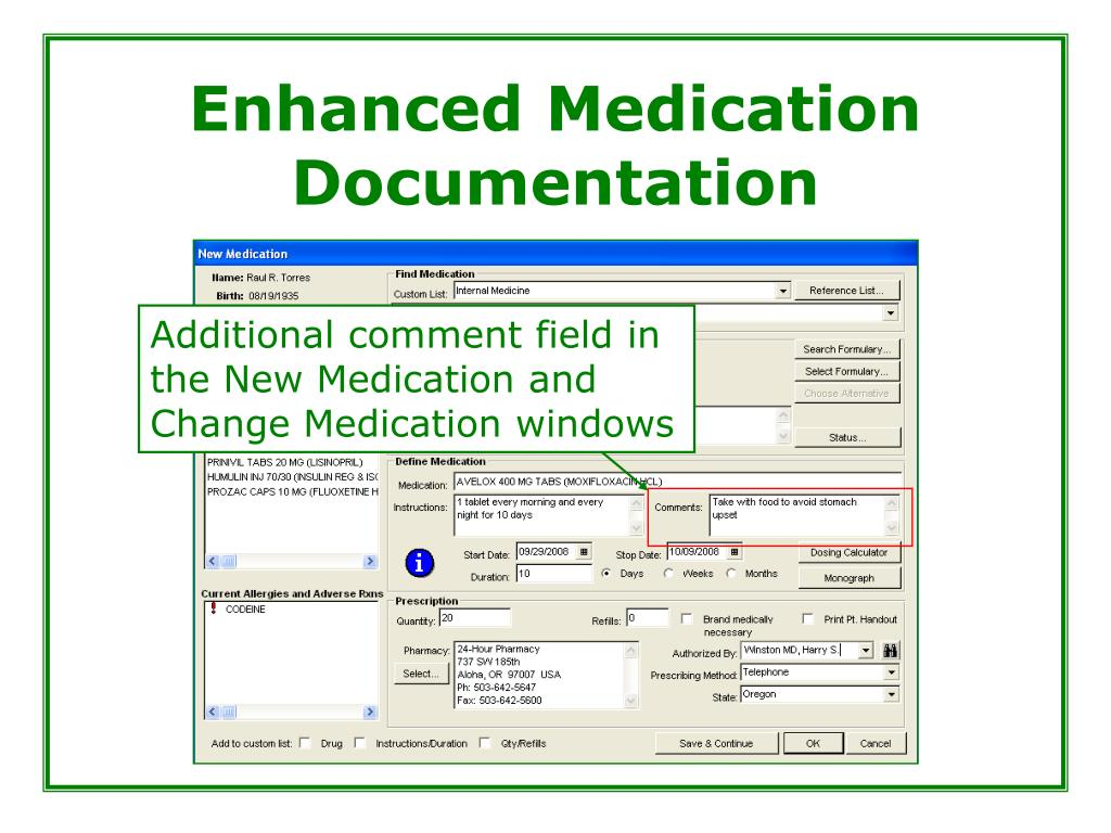 Enhanced Medication Documentation