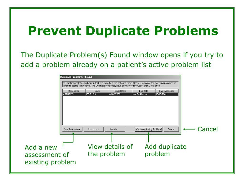 Prevent Duplicate Problems