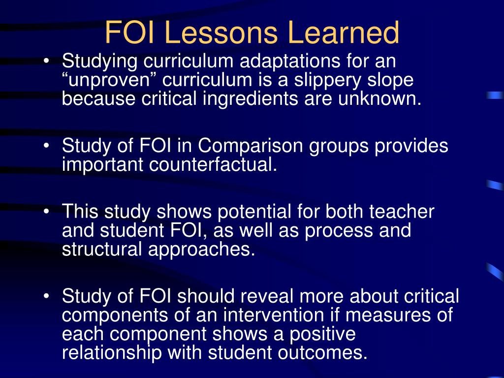 FOI Lessons Learned