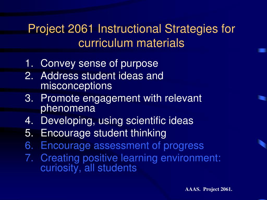 Project 2061 Instructional Strategies for curriculum materials