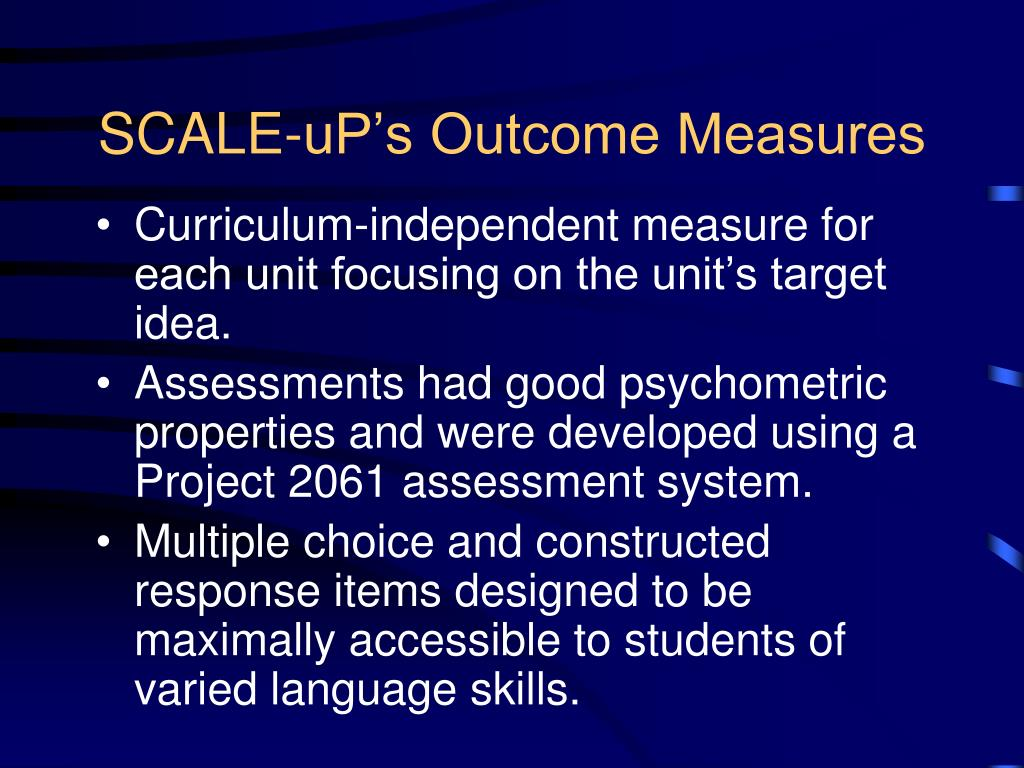 SCALE-uP's Outcome Measures