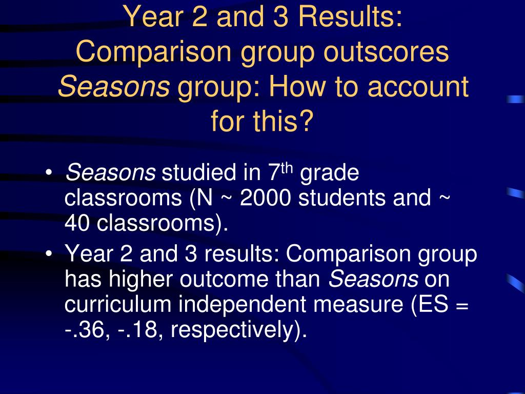 Year 2 and 3 Results: Comparison group outscores