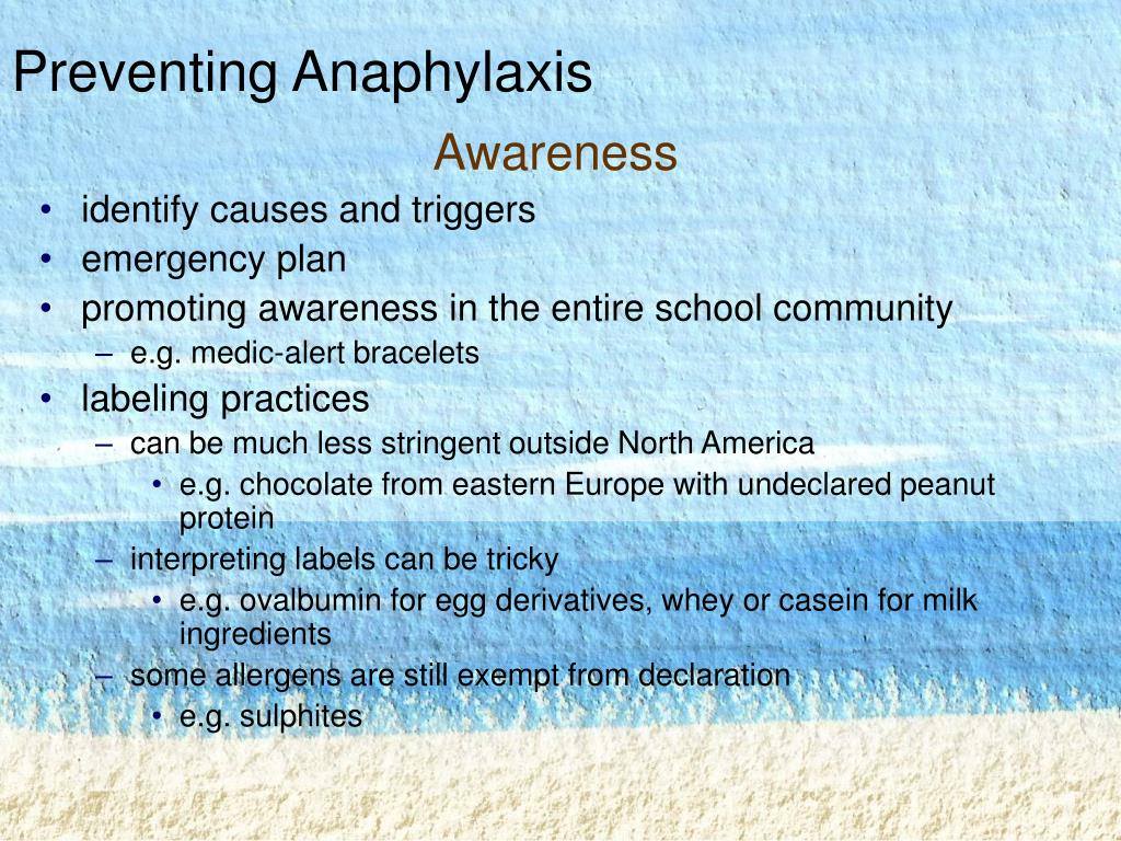Preventing Anaphylaxis