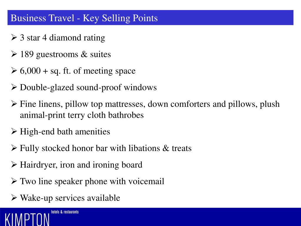 Business Travel - Key Selling Points