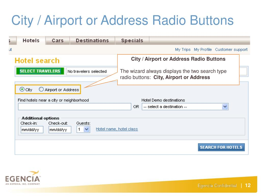 City / Airport or Address Radio Buttons